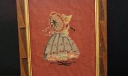 If the item is listed it is still for sale. It is removed immediately when sold. This lovely framed needle point picture is of a Victorian young girl. It has a folk style frame that is 15 by 13 inches. Please check out ALL my listings by simply clicking