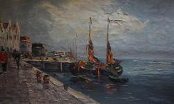 If the item is listed it is still for sale. It is removed immediately when sold. This vintage painting is signed J or V Duren or Durey, It is quite lovely with a knife oil paint pallet technique. It is very old. It is people walking on the dock and ship