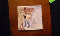 If the item is listed it is still for sale. It is removed immediately when sold. This darling original ceramic tile painting is signed Anita and is stamped Quebec on the back. It is a portrait of a young girl and attached to a wood plaque. It is 7 by 7