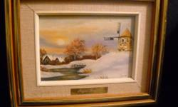 If the item is listed it is still for sale. It is removed immediately when sold. This nicely framed winter scene painting has a windmill and stream. It is well signed and brass plated by JOYCE BELAIR. It is 10 1/2 by 8 1/2 inches high. Please check out