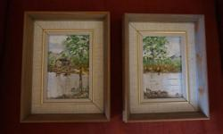 If the item is listed it is still for sale. It is removed immediately when sold. This lovely pair of oil on board paintings are by Dot Bremner. They are titled, dated 73 and signed on the back with her initials on the front of one of them. They are 9 by 7