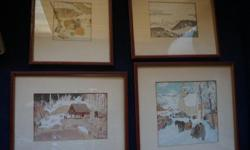 If the item is listed it is still for sale. It is removed immediately when sold. This set of vintage prints are quite lovely. They have burnt red with gold color frames. The largest one is 11 3/4 by 12 3/4 inch frame and the smallest one is 8 3/4 by 9 1/2