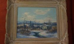 If the item is listed it is still for sale. It is removed immediately when sold. This darling vintage painting is done by a known artist T. Arlis. It is an oil on board with a wood carved frame 14 by 12 inches high. It has the Wallacks framer's stamp on