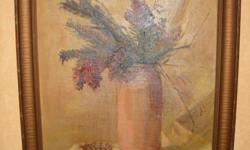 If the item is listed it is still for sale. It is removed immediately when sold. Offered here is a vintage oil on canvas board It is a still life of burgundy red flowers in a vase. Please check out ALL my listings by simply clicking on: View sellers list,