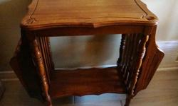 If the item is listed it is still for sale. It is removed immediately when sold. This vintage table doubles as a magazine stand as well. It is made of solid wood and has beautiful carved detailing. It is 27 inches long by 24 inches high. The table top 20