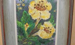 If the item is listed it is still for sale. It is removed immediately when sold. This oil on board vintage painting is done with thick knife pallet technique. It has bold yellow flowers and is 12 by 10 inches. Please check out ALL my listings by simply