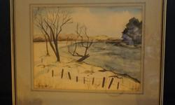 If the item is listed it is still for sale. It is removed immediately when sold. This lovely water color is titled Mississippi River-Near Pakenham ONT. It is signed and dated B. Taleishi 3/69. The frame is 21 by 18 inch and the water color is 15 by 11 1/2