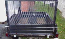 Asking $750 or reasonable offers 4x6 Strong Box trailer in good condition.   Back gate lowers to a ramp. Front section is adjustable for longer items.   A few years old. Used to haul some junk to the dump and for camping for the last 2 summers. Have