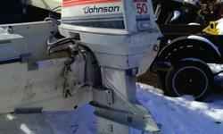 50 HP JOHNSON OUTBOARD MOTOR E-START, LARGER BOTTOM GEAR BOX, SHORT SHAFT WITH NEW PROP,  LESS CONTROLS $550 577 5861.