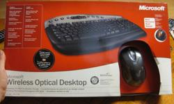 BRAND NEW! NEVER OPENED, NEVER USED Complete wierless desktop, Wireless Optical MouseWireless Keyboard with...- Media center (pictures, music, media, mail, messenger)- Hot keys (log off, sleep, etc)- Detachable palm restdid some research, they go for