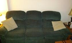 Couch and Loveseat for sale. In good condition.Both couches have recliners. Some wear and tear. Would be ideal for a basement /rec room /student housing.The backs also come off for easy moving and fitting throug