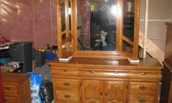 We have a 5 piece bedroom set for sale. Unlike the one I just purchased this one is superior quality. It comes with womens dressor with mirror, mens high dressor, 2 night tables, a headboard and steel frame for a queen size bed. Matress not included.