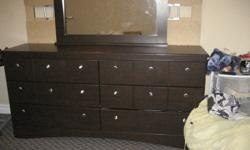 5 piece bedroom set includes 6 drawer dresser mirror that attaches onto dresser night stand with 2 drawers head board bed frame More pictures coming soon! Some scratches, 5 months old. Have the receipt. Asking $700.00 OR Best offer