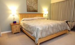 Two-tone, solid maple wood. Includes bed , six-drawer dresser, mirror and two nightstands. Nadeau - Made in Canada. (mattress and bedding not included)