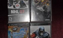 Hi I have 4 psp games for sale. In excellent condition, nothing wrong with them. I had bought my psp and the games off  of a friend as a bundle, and I just don't care for a few of the games...not my thing.   Games are:   Little Big Planet   Madden NFL 07
