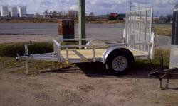 OPEN ALUMINUM UTILITY TRAILER BY FOREST RIVER INC.   5' x 8' WITH MESH RAMP GATE TRIPLE TUBE TONGUE LED LIGHTS SPRING LOADED LATCHES ON TAILGATE REAR BEAVERTAIL E-Z LUBE HUBS WITH GREASE CAPS GVWR 2,990 LBS EMPTY WEIGHT 600LBS PAYLOAD CAPACITY 2,390LBS