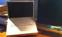 """15"""" Macbook Pro Silver (prior to unibody) with Snow Leopard Installed.2.6 MHz Dual Core with 320GB HD and 4GB RAM.$600 OBO.Great shape with some wear on the keyboard where your hands rest.Comes with power supply, neoprene sleeve and grey MEC laptop"""