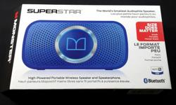 NEW AND SEALED Monster Superstar BLUE Bluetooth Speaker * Ultra compact, high performance Bluetooth Speaker * Built in mic enable clear wireless hands-free calling * Connects to any music device using a 3.5mm Aux line out * Rechargeable lithium long