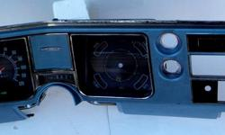 1968 Chevrolet Chevelle Malibu dash bezel & instrument cluster panel GM original bright blue in very good shape. It has the automatic transmission indicator assembly can easily be removed from the back for console or 4-speed manual transmission car. There