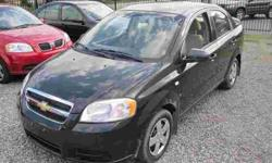"""ALL INCLUDED! SAFETY & E-TEST & CAR-PROOF & WARRANTY. NO HIDDEN CHARGES, JUST + TAX!? 2007 CHEVROLET AVEO LS. Automatic, 4drs Hatch-Batch, AC, CD/MP3/AUXILIARY/FM, Tilt, Spoiler, 1.6Liter, Black. ONLY: 52,zero kilometers. DIRECT FROM GM CANADA SALE:"