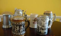 """six beer steins from 4 3/4"""" to 6 1/2"""""""
