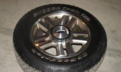 I have 4 factory 18 inch rims for sale currently have rubber on them approximently 60% left, have all  center caps for rims, also have a 3 aggresive tires that will fit on rims, asking $200 for the 3 tires open to offers, or a package deal