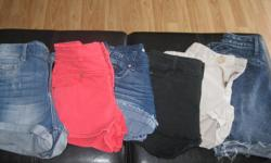 6 pairs of Girls shorts - as listed.... 1) Blue Jean GARAGE Retro High Waist short stretch - size 0 2) Pink Jean AEROPOSTALE High-Rise Shorty - size 000 3) Blue Jean ZCO jean shorts - size 0 4) Black HARLOW (Boathouse) jean shorts - size 23 (0) 5) Beige