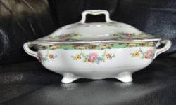 """Connaught pattern by Pareek Johnson Brothers (6 pieces) Description:  Floral Swags/Green and tan border/gold trim     Oval Serving  Bowl:   9? X 7? & 2 1/4 """" high    Sandwich Tray:   12 ¾ """"   Handled Cake Plate:  10 ¼ """" Rectangle Covered Vegetable Bowl:"""