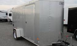 """SILVER EXTERIOR COLOUR, REAR RAMP DOOR, SIDE ENTRY DOOR, FRONT STONEGUARD, 2 X 12V INTERIOR DOME LIGHTS, 12V SURFACE MOUNT WALL SWITCH, 14"""" X 14"""" NON POWERED ROOF VENT, 4 X SQUARE D-RINGS, TRAILER BY HAULMARK, GVWR 2980 LBS, 1655 LBS PAYLOAD CAPACITY"""