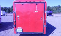 6x12 Red Haulin Trailer/ Camper Great shape with rear ramp door, 1 Side window, Detachable screen side door, Detachable rear screen door, Front counter top and sink with 12V RV pump, Under and overhead cupboards, Side wall shelving with storage bins, Two