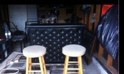 Leather & wooden bar with two stools. great condition. Man cave essential.