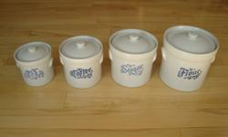 Pfaltzgraff Pottery Vintage 1967 Yorktowne 4 Piece Canister Set with Lids- Made In USA- Tea, Coffee, Sugar, Flour Four Piece set- Great condition but the Flour has a small chip on the upper lip and the Sugar has a chip that was glued back on. Other than