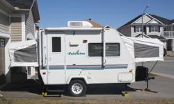 This light weight Hybrid can be towed by a Minivan / Mid size SUV. Sleeps 6 comfortably with queen and double beds. Very clean bathroom and shower, outside shower, cooking center and awning. Lots of cupboards and storage space, AC/DC/Propane