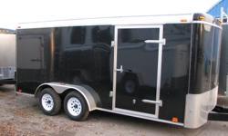 Custom Cargo Concept Inc. Biggest trailers inventory in Barrie   Manufacturer: ATLAS 7x16 Tandem axle (3500lbs ea.) COLOR: BLACK RAMP door Side door Int. light Roof vent E-Z lub hubs 15'' tires One piece aluminum roof 16''O.C walls structure Z-Tech