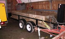 """tandum landscape trailer with 3500# axles ,1 brake axle ,sandblasted, new paint, tires, wheel bearings, fenders and spring bushings, 2 years ago , little use since then. 80"""" between fenders with 4' split gate, tool box on front as is 1600.00 or make"""