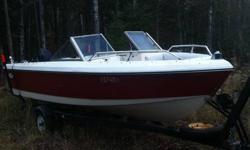 for sale is a 87 lund moat with an 85 mercury outboard. i bought it last summer. didnt have time to fix it up to get it in the water, has small crack in hull, need gas tank and bilge pump. Motor runs just had carbs cleaned, comes with an eagle fish