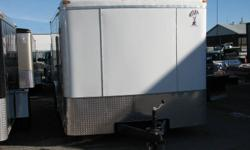 Custom Cargo Concept Inc. Biggest trailers inventory in Barrie Manufacturer: ATLAS 8x16 Tandem axle (3500lbs ea.) COLOR : WHITE RAMP door Side door Int. light Roof vent E-Z lub hubs 15'' tires One piece aluminum roof 16''O.C walls structure Z-Tech
