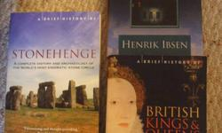 Three books in great condition: A Doll's House (Henrik Ibsen), small hard cover book A Brief History of the Kings and Queens of England. Soft cover, spanning from the first Royals of Britain to Princess Diana. Stonehenge book has been sold. $8 or $4 each.