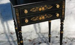 "This reproduction lamp table was made the way they used to look in the early to mid 19th century. It is stenciled ""L. Hitchcock. Hitchcocks.ville. Conn. Warranted (the N's are printed backwards). Very good condition, normal wear. You'll look a long time"