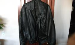 I have a men's black leather jacket for sale. It is in great shape and ready to wear.
