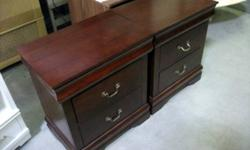 A pair of Cherry Red 3-Drawer Night Stand - Item#5477 Width  Depth  Height  24 16 27 (in.) 60.96 40.64 68.58 (cm) Item#:5477 *********************** You can check if items have been sold or still available by inputting the item number into our website