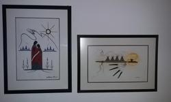 Custom framed original art. $150 each painting.