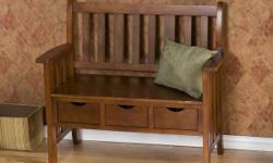 NEVER USED Enhance the look of your home while being extremely practical. Simple and stylish, wood entryway bench a lovely addtion to your contemporary décor. Material: Strong wood construction, featuring elegant country oak finish and veneered. Features