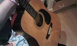 I have an acoustic Montana MT104-N guitar with strings intact and soft case for sale. It has a few nicks on the back of it and needs to be tuned but otherwise in good condition. $150 OBO please call or txt or email.