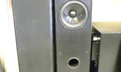 """Acoustic Profiles tower speakers, model # PSL-88.7A/V, item #146242-1. Made in Canada, 15-250 watts, with 2-8"""" woofers and 1 silk dome tweeter, gold plated terminals. Price of $178 includes all taxes. PLEASE REFER TO INVENTORY #146242-1 WHEN INQUIRING. We"""