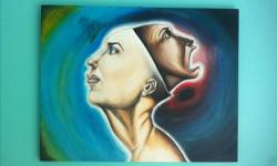 """28"""" x 22"""" """"Gaping Whole"""" - A dive into the subconscious conditioning of the mind. I painted this as an expression of how many of us feel a sort of imprisonment from our own minds, and how the seemingly happy faces have more of a story to offer than meets"""