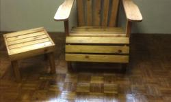 Adirondack style wooden patio chair and matching table. Nicely finished. Please contact by phone only 250-245-0052.
