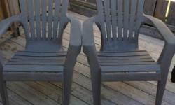 Two nice, tan coloured Adirondack chairs. Both have a two inch crack on each chair but does NOT affect each chair. $15 for the pair
