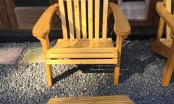 Beautiful hand made Adirondack chairs, very well built sturdy construction. Sikkens natural stained. Ottomans are available as well for $35.00 Located at Down to Earth Gardens and Nursery 1096 Derrien Place. Just off Happy Valley Road in Metchosin