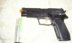 i am asking $30.00 for it i panted it my self and i only used it 3 times this gun is spring so ever time you shoot it you have to pull the slid back it comes with... 1. mag 1. speed louder PS only well drive as far as to Barry